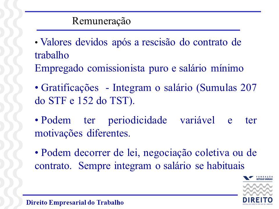 Direito Empresarial do Trabalho Valores devidos após a rescisão do contrato de trabalho Empregado comissionista puro e salário mínimo Gratificações -
