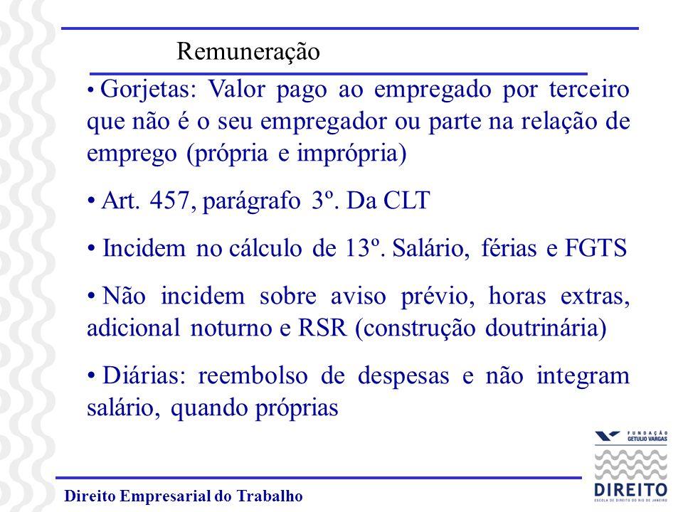 Direito Empresarial do Trabalho Quando impróprias (excedendo 50% do salário), integram a remuneração.