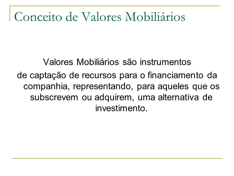 Conceito de Valores Mobiliários Valores Mobiliários são instrumentos de captação de recursos para o financiamento da companhia, representando, para aq