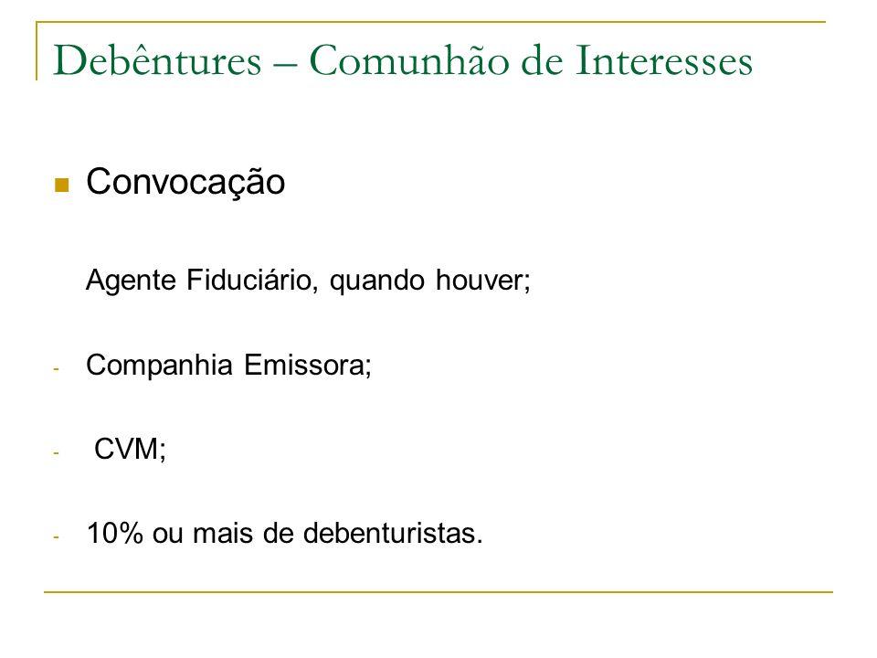 Debêntures – Comunhão de Interesses Convocação Agente Fiduciário, quando houver; - Companhia Emissora; - CVM; - 10% ou mais de debenturistas.