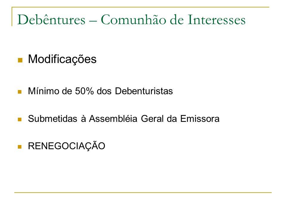 Debêntures – Comunhão de Interesses Modificações Mínimo de 50% dos Debenturistas Submetidas à Assembléia Geral da Emissora RENEGOCIAÇÃO