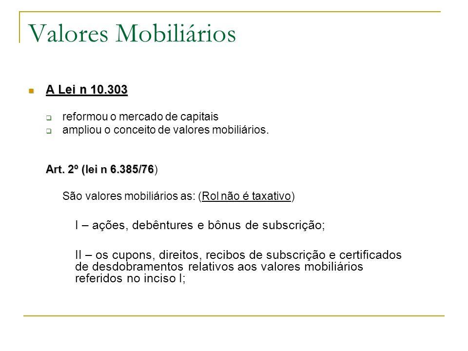 Valores Mobiliários A Lei n 10.303 A Lei n 10.303 reformou o mercado de capitais ampliou o conceito de valores mobiliários. Art. 2º (lei n 6.385/76 Ar