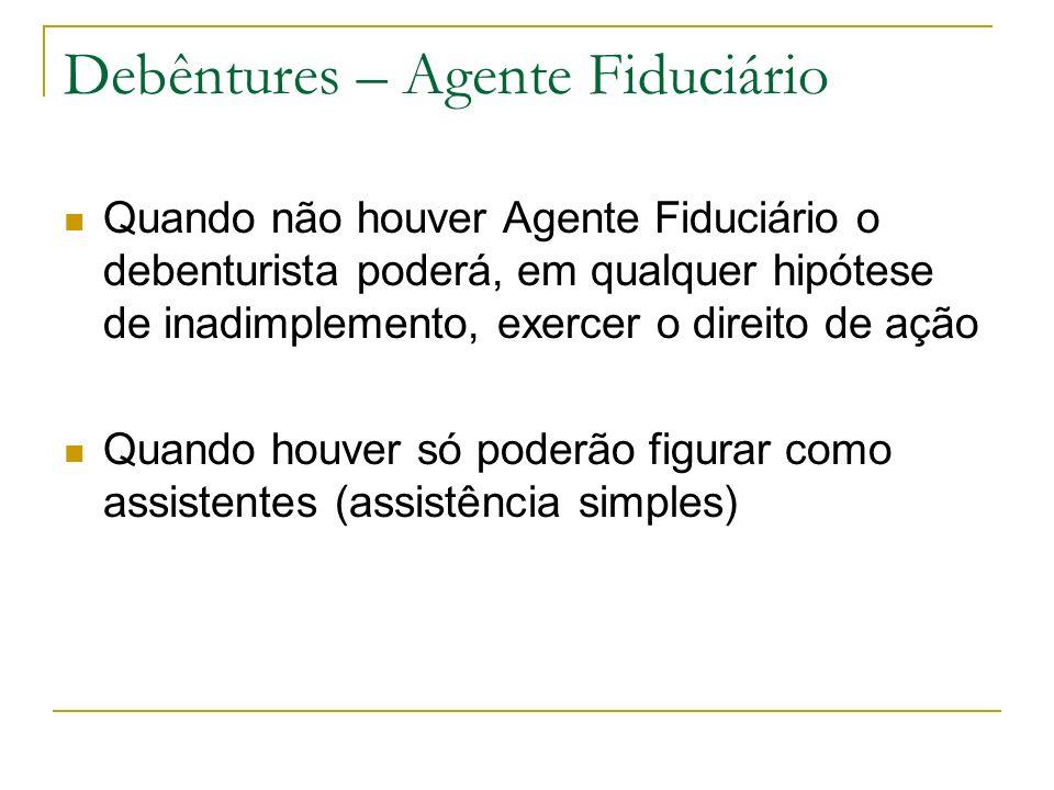 Debêntures – Agente Fiduciário Quando não houver Agente Fiduciário o debenturista poderá, em qualquer hipótese de inadimplemento, exercer o direito de