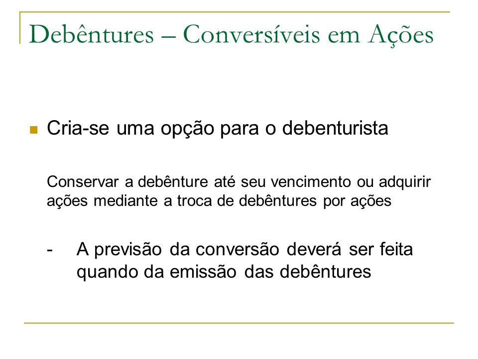Debêntures – Conversíveis em Ações Cria-se uma opção para o debenturista Conservar a debênture até seu vencimento ou adquirir ações mediante a troca d