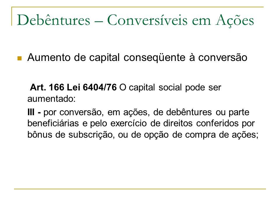 Debêntures – Conversíveis em Ações Aumento de capital conseqüente à conversão Art. 166 Lei 6404/76 O capital social pode ser aumentado: III - por conv