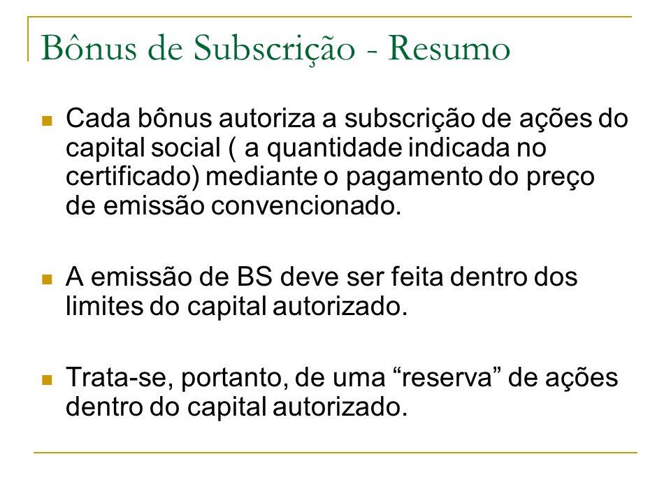 Bônus de Subscrição - Resumo Cada bônus autoriza a subscrição de ações do capital social ( a quantidade indicada no certificado) mediante o pagamento