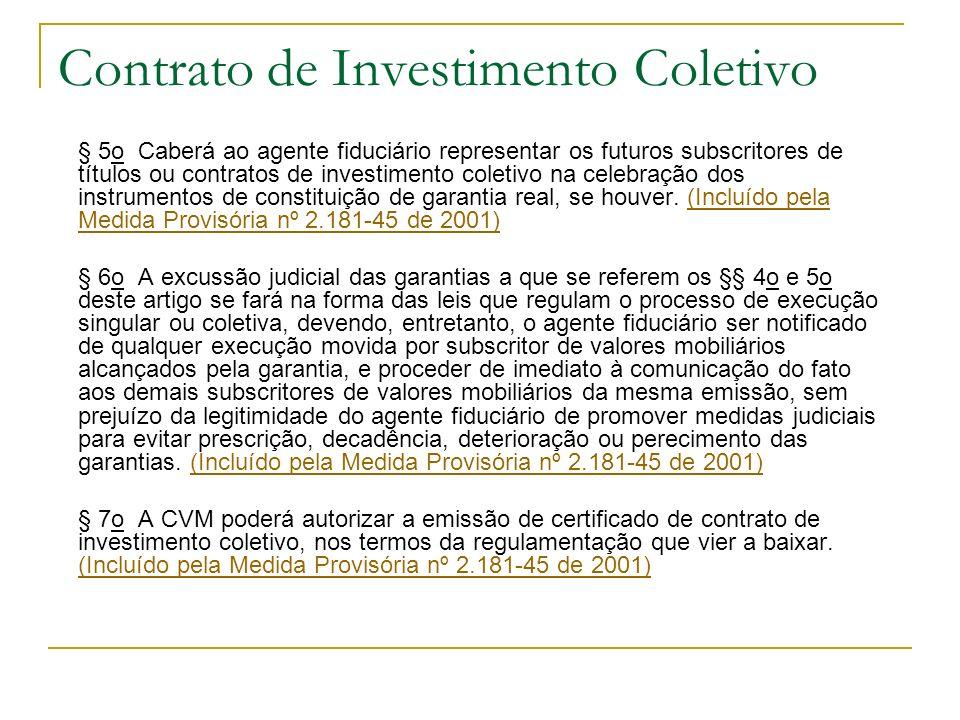 Contrato de Investimento Coletivo § 5o Caberá ao agente fiduciário representar os futuros subscritores de títulos ou contratos de investimento coletiv