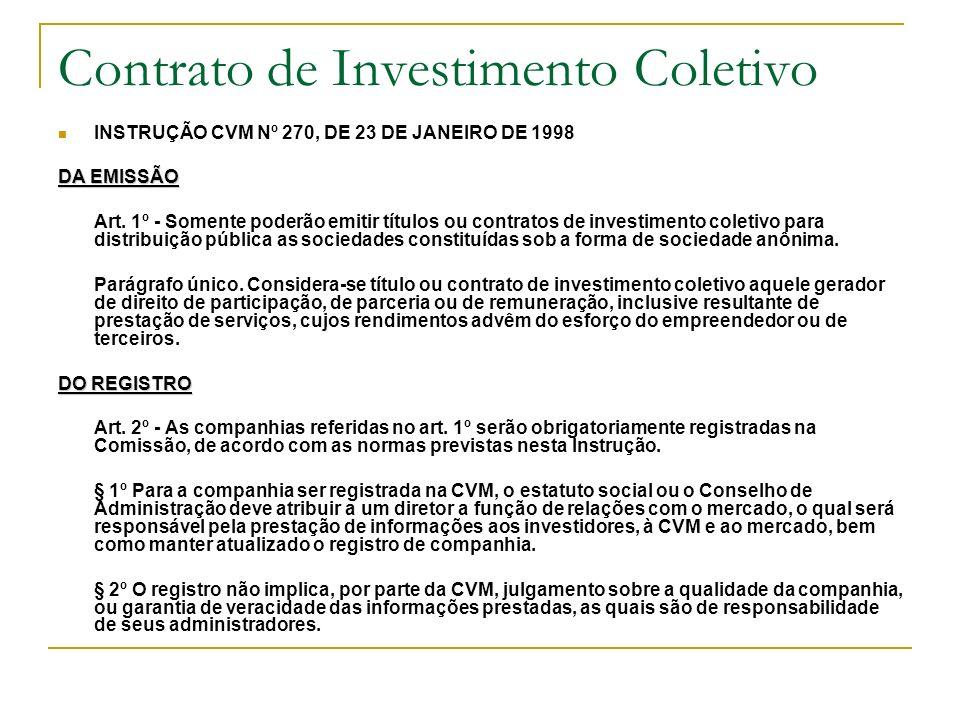 Contrato de Investimento Coletivo INSTRUÇÃO CVM Nº 270, DE 23 DE JANEIRO DE 1998 DA EMISSÃO Art. 1º - Somente poderão emitir títulos ou contratos de i