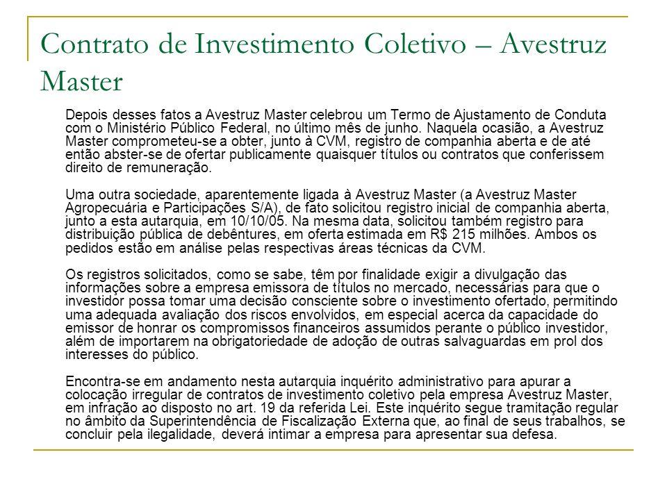 Contrato de Investimento Coletivo – Avestruz Master Depois desses fatos a Avestruz Master celebrou um Termo de Ajustamento de Conduta com o Ministério