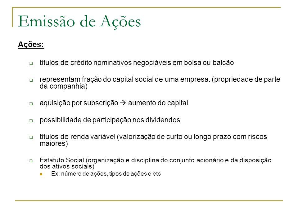 Emissão de Ações Ações: títulos de crédito nominativos negociáveis em bolsa ou balcão representam fração do capital social de uma empresa. (propriedad