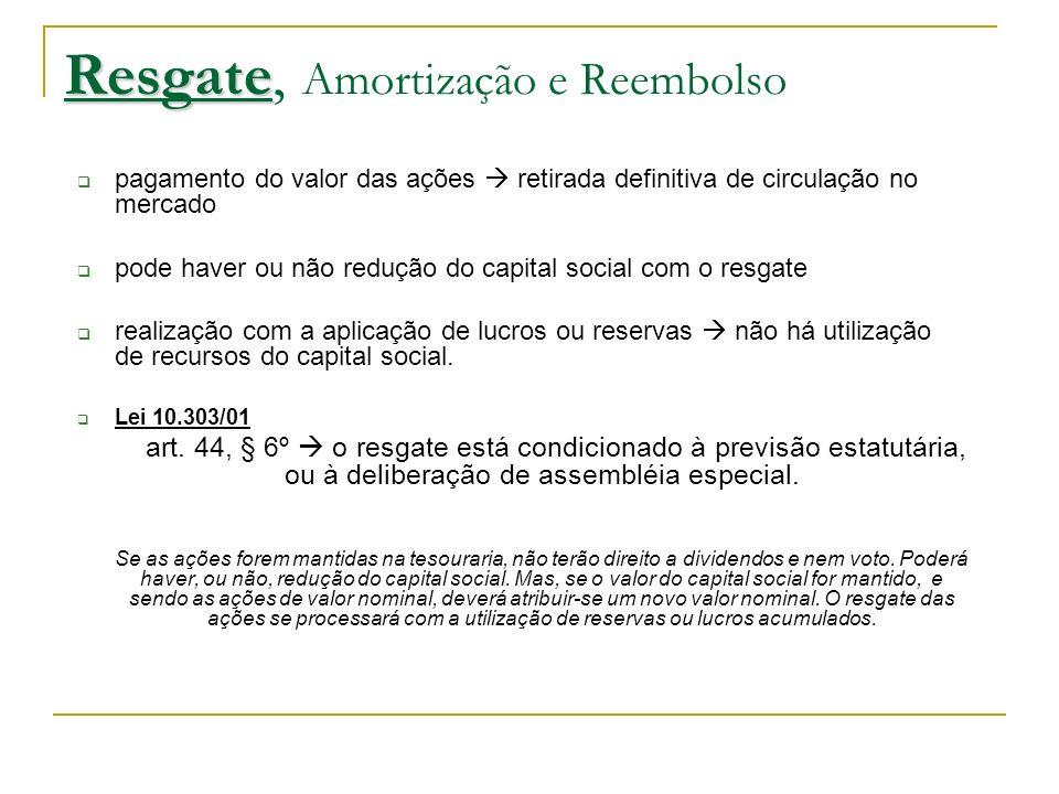 Amortização Resgate, Amortização e Reembolso Distribuição antecipada aos acionistas de quantias que lhes seriam devidas em caso de liquidação da companhia.