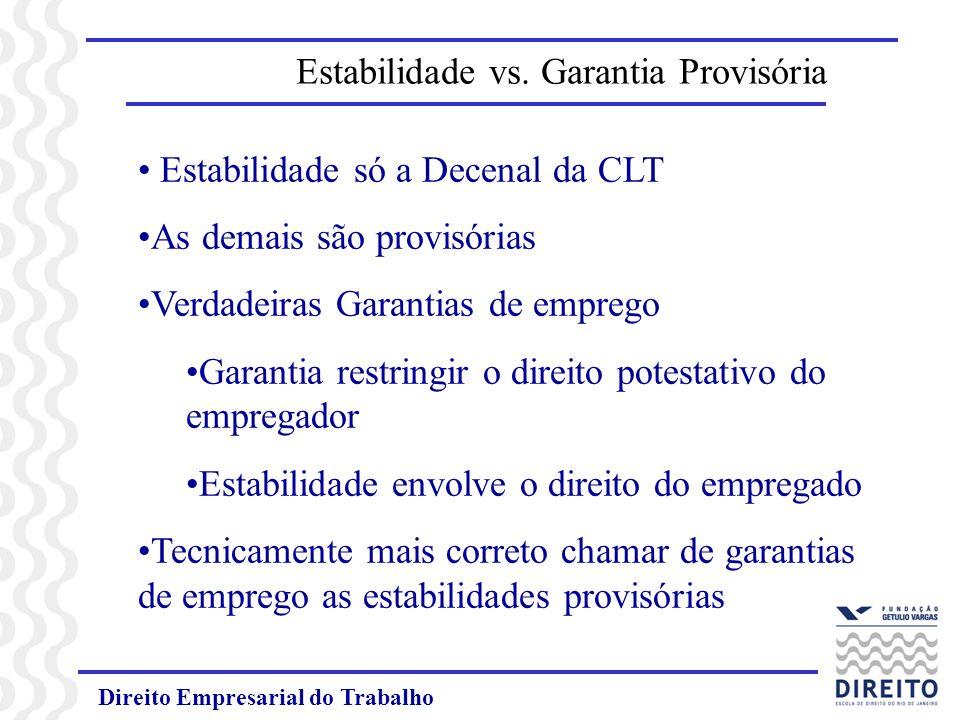 Direito Empresarial do Trabalho Estabilidade vs. Garantia Provisória Estabilidade só a Decenal da CLT As demais são provisórias Verdadeiras Garantias