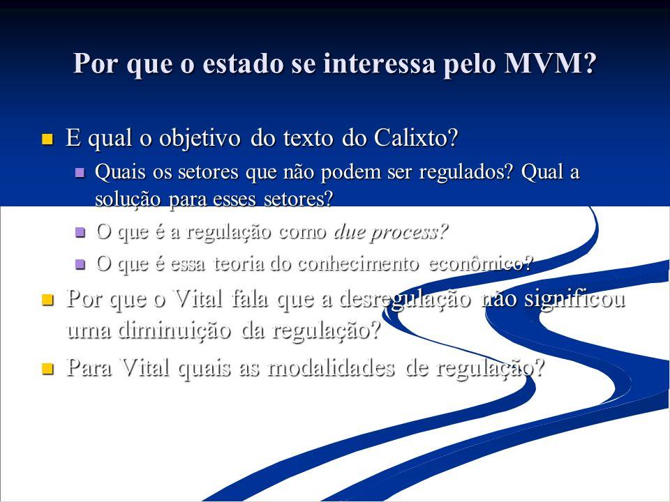 Por que o estado se interessa pelo MVM? E qual o objetivo do texto do Calixto? E qual o objetivo do texto do Calixto? Quais os setores que não podem s