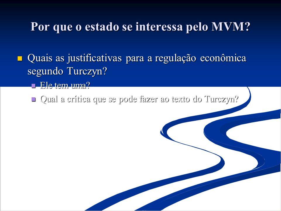 Por que o estado se interessa pelo MVM? Quais as justificativas para a regulação econômica segundo Turczyn? Quais as justificativas para a regulação e