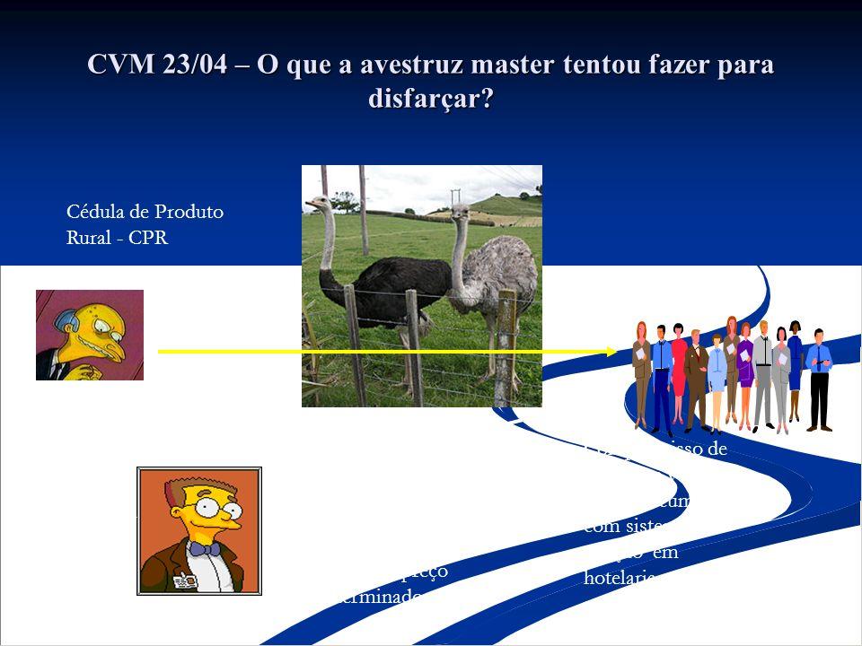 CVM 23/04 – O que a avestruz master tentou fazer para disfarçar? Compromisso de compra e venda de avestruz cumulado com sistema de criação em hotelari