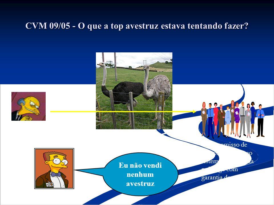CVM 09/05 - O que a top avestruz estava tentando fazer? Seu Walter – Fazenda Lagoa Compromisso de compra e venda no sistema de hotelaria pré-paga com