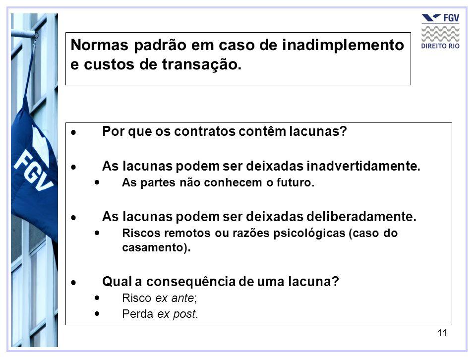 11 Normas padrão em caso de inadimplemento e custos de transação. Por que os contratos contêm lacunas? As lacunas podem ser deixadas inadvertidamente.
