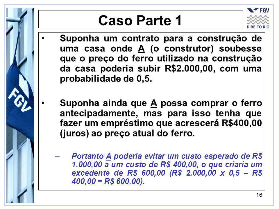 16 Caso Parte 1 Suponha um contrato para a construção de uma casa onde A (o construtor) soubesse que o preço do ferro utilizado na construção da casa