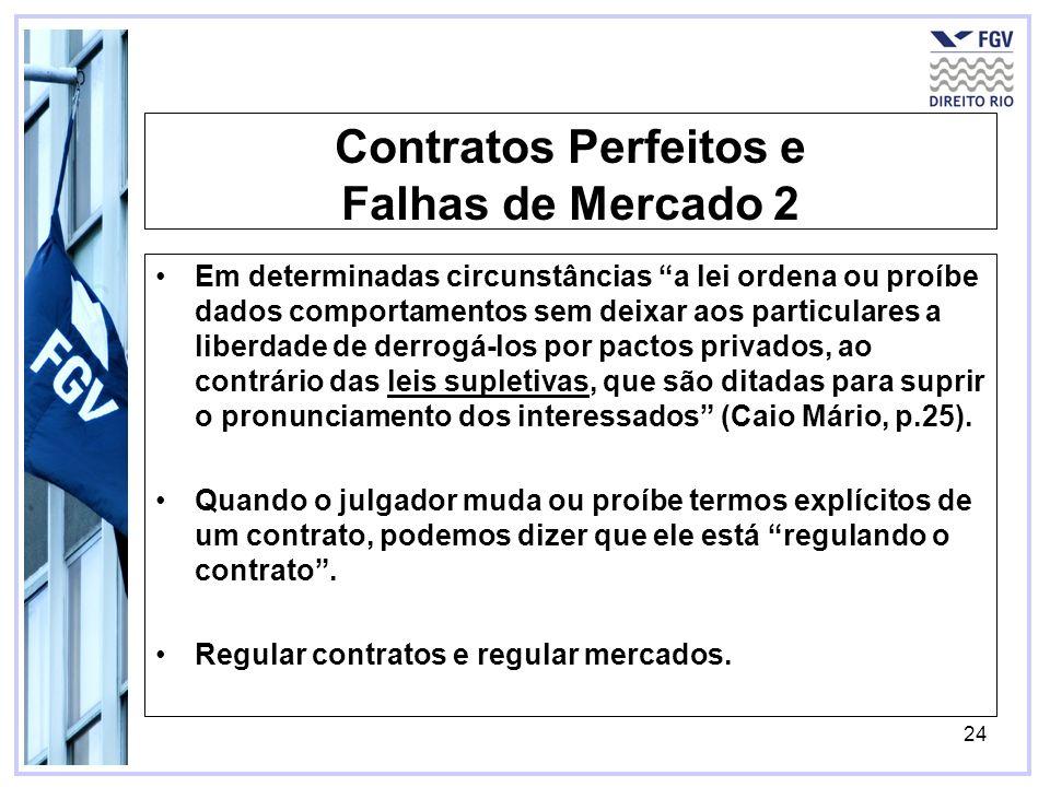 24 Contratos Perfeitos e Falhas de Mercado 2 Em determinadas circunstâncias a lei ordena ou proíbe dados comportamentos sem deixar aos particulares a