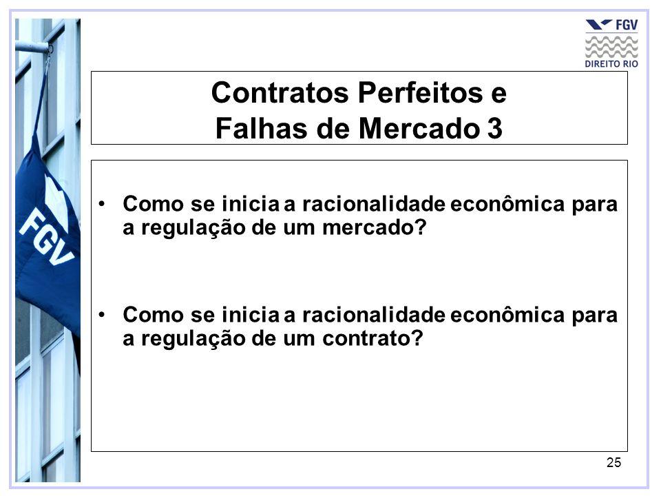 25 Contratos Perfeitos e Falhas de Mercado 3 Como se inicia a racionalidade econômica para a regulação de um mercado? Como se inicia a racionalidade e
