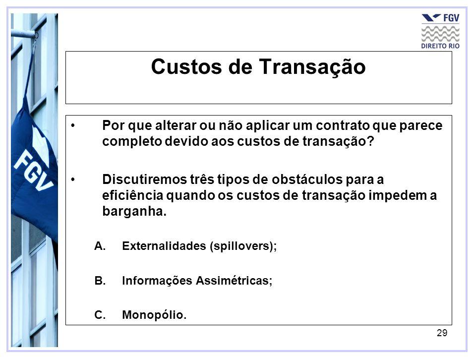29 Custos de Transação Por que alterar ou não aplicar um contrato que parece completo devido aos custos de transação? Discutiremos três tipos de obstá