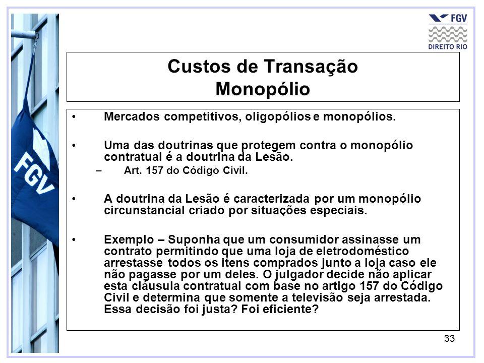 33 Custos de Transação Monopólio Mercados competitivos, oligopólios e monopólios. Uma das doutrinas que protegem contra o monopólio contratual é a dou