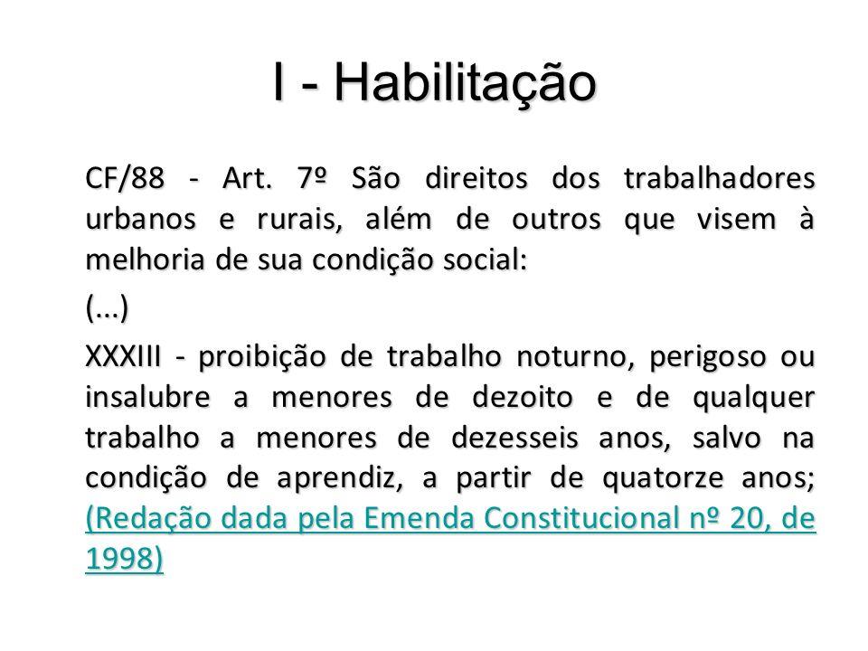 I - Habilitação CF/88 - Art. 7º São direitos dos trabalhadores urbanos e rurais, além de outros que visem à melhoria de sua condição social: (...) XXX