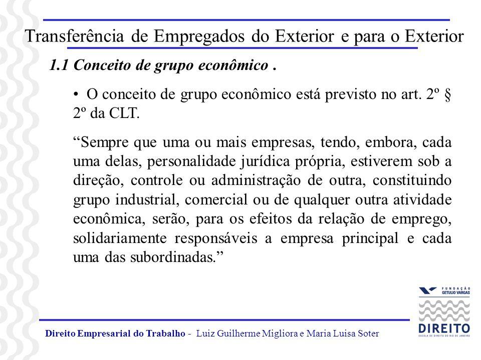 Direito Empresarial do Trabalho - Luiz Guilherme Migliora e Maria Luisa Soter Transferência de Empregados do Exterior e para o Exterior 1.1 Conceito d