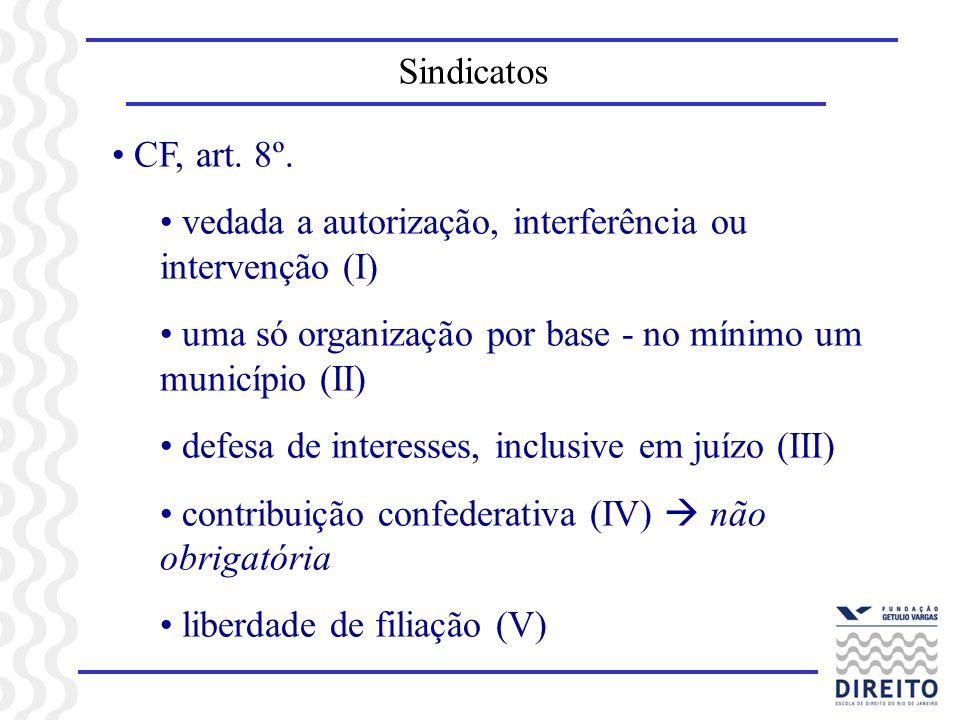Sindicatos CF, art. 8º. vedada a autorização, interferência ou intervenção (I) uma só organização por base - no mínimo um município (II) defesa de int