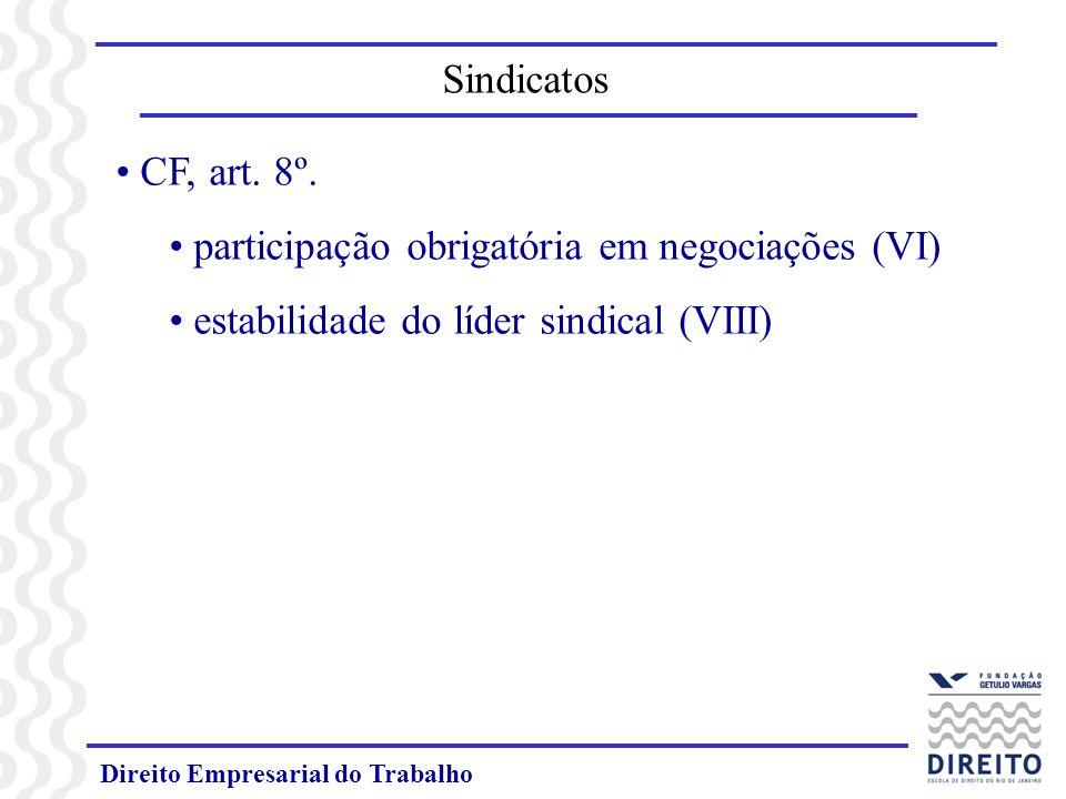 Direito Empresarial do Trabalho CF, art. 8º. participação obrigatória em negociações (VI) estabilidade do líder sindical (VIII) Sindicatos