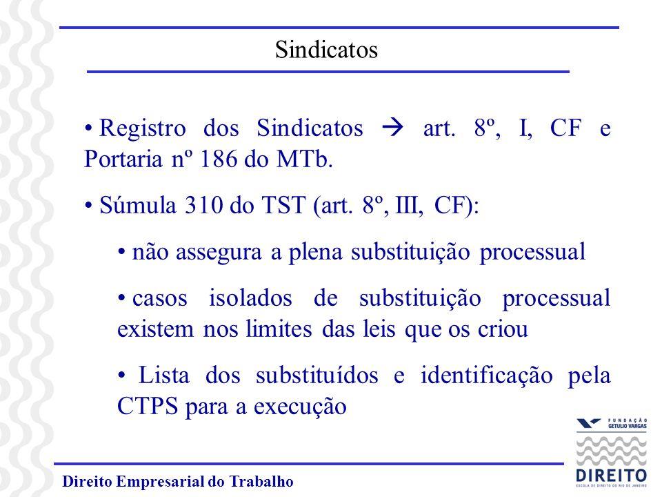 Direito Empresarial do Trabalho Registro dos Sindicatos art. 8º, I, CF e Portaria nº 186 do MTb. Súmula 310 do TST (art. 8º, III, CF): não assegura a