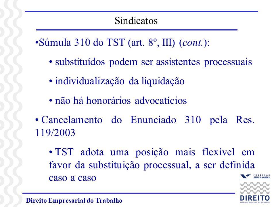 Direito Empresarial do Trabalho Súmula 310 do TST (art. 8º, III) (cont.): substituídos podem ser assistentes processuais individualização da liquidaçã