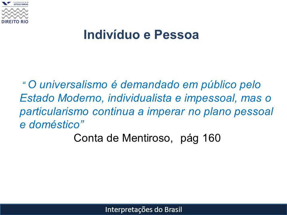 Indivíduo e Pessoa O universalismo é demandado em público pelo Estado Moderno, individualista e impessoal, mas o particularismo continua a imperar no