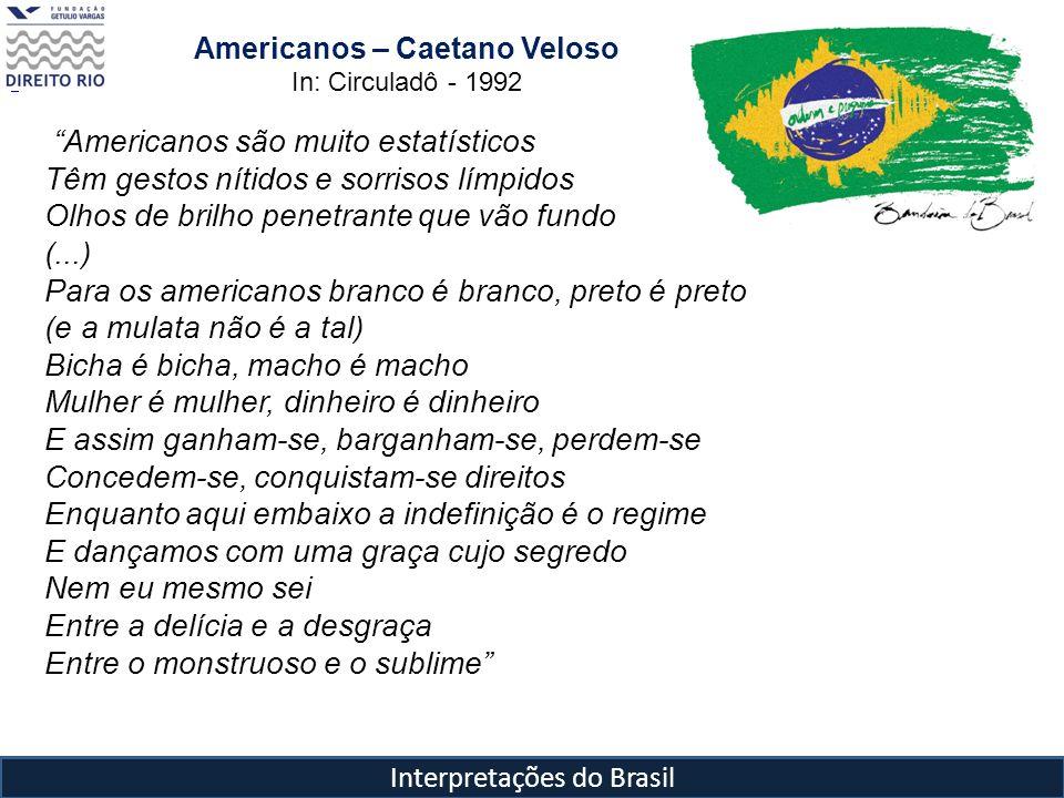Interpretações do Brasil Americanos são muito estatísticos Têm gestos nítidos e sorrisos límpidos Olhos de brilho penetrante que vão fundo (...) Para