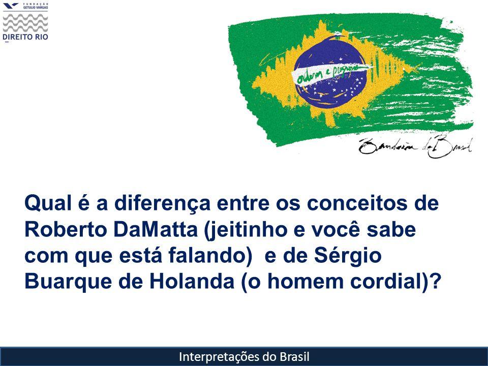 Interpretações do Brasil Qual é a diferença entre os conceitos de Roberto DaMatta (jeitinho e você sabe com que está falando) e de Sérgio Buarque de H