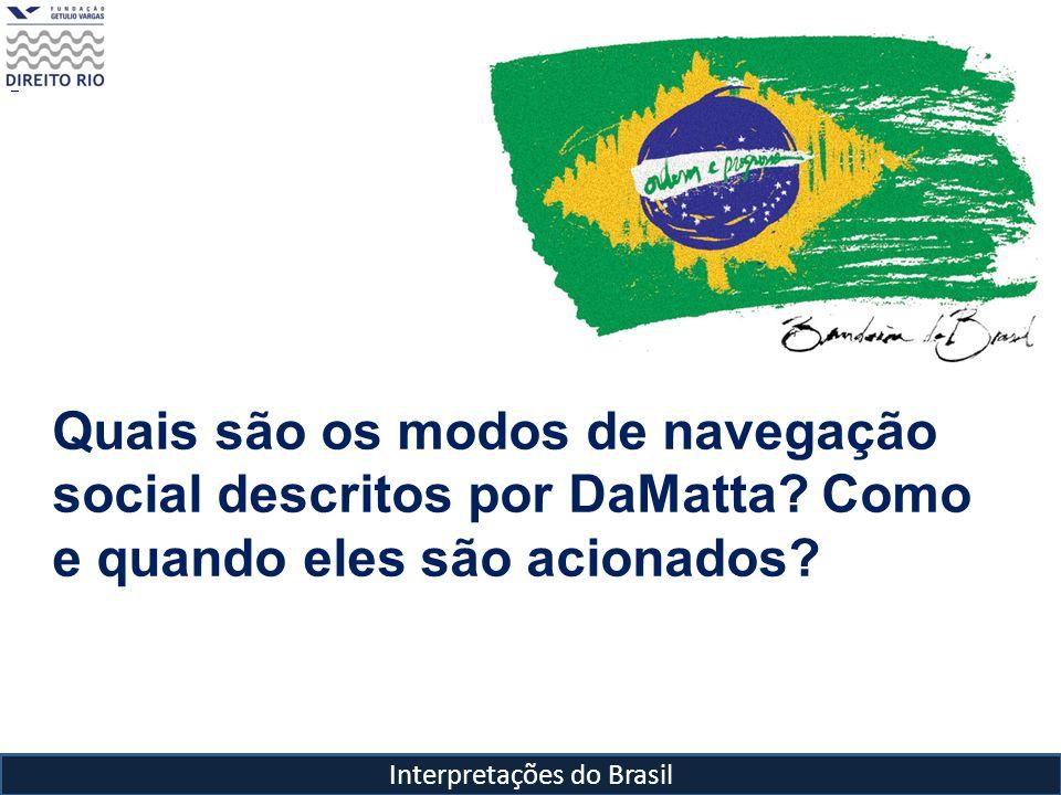 Quais são os modos de navegação social descritos por DaMatta? Como e quando eles são acionados?