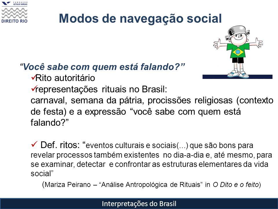 Modos de navegação social Você sabe com quem está falando? Rito autoritário representações rituais no Brasil: carnaval, semana da pátria, procissões r