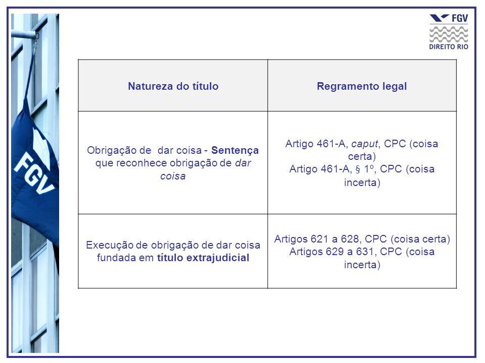 Natureza do títuloRegramento legal Obrigação de dar coisa - Sentença que reconhece obrigação de dar coisa Artigo 461-A, caput, CPC (coisa certa) Artig