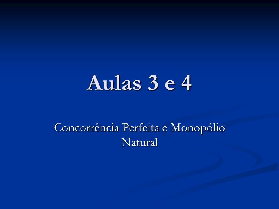 Aulas 3 e 4 Concorrência Perfeita e Monopólio Natural