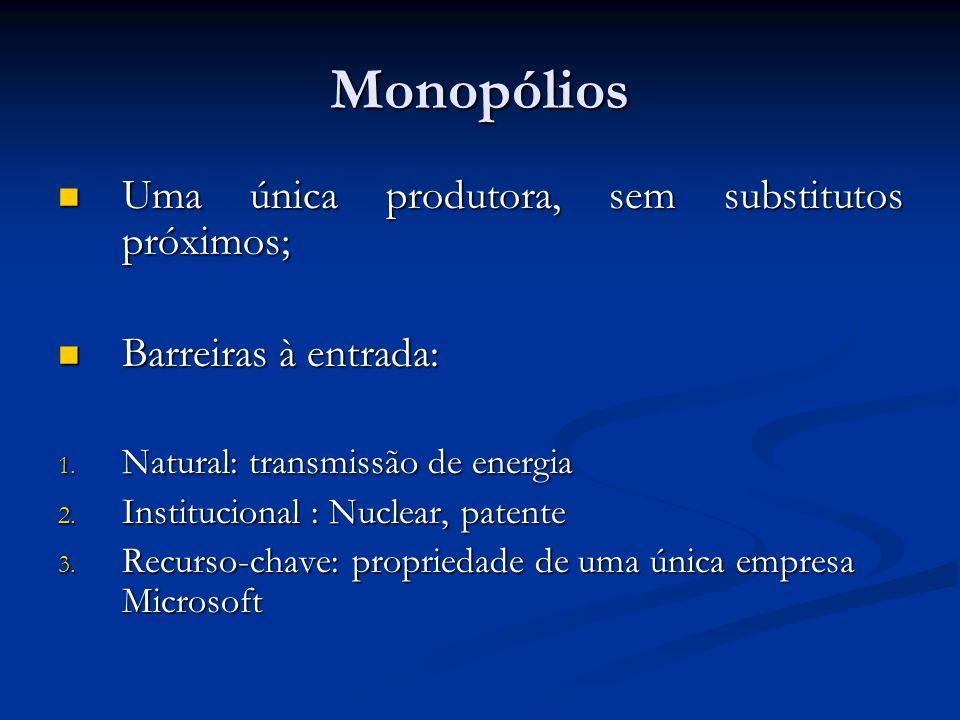 Monopólios Uma única produtora, sem substitutos próximos; Uma única produtora, sem substitutos próximos; Barreiras à entrada: Barreiras à entrada: 1.
