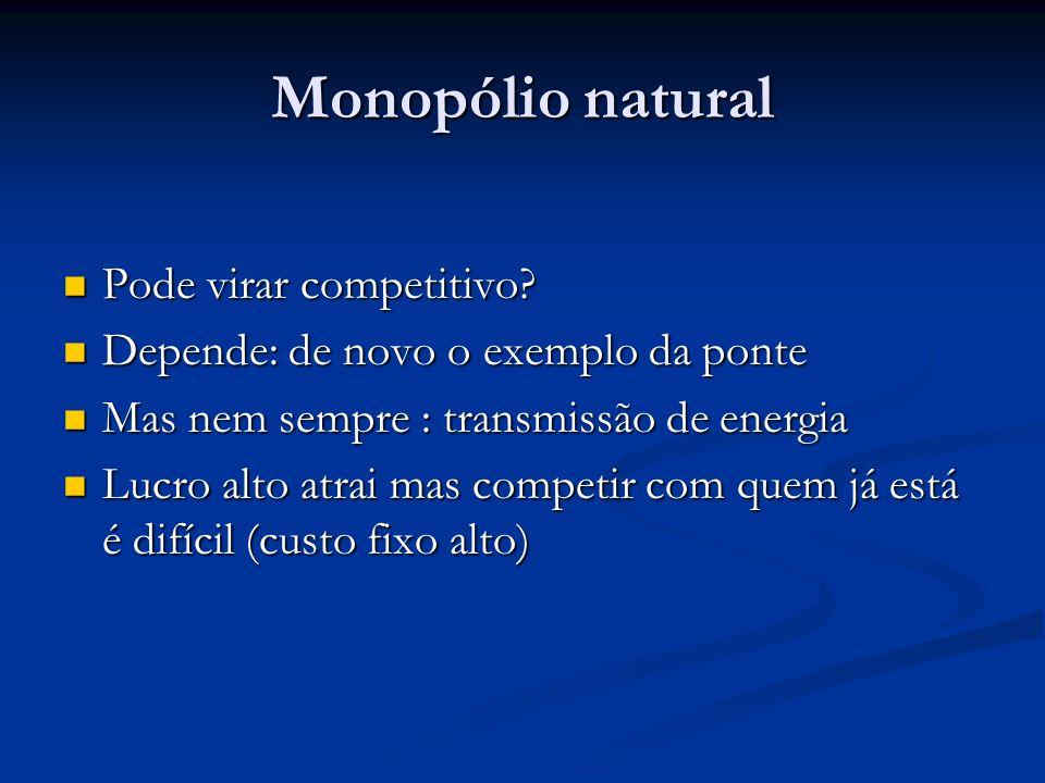 Monopólio natural Pode virar competitivo.Pode virar competitivo.