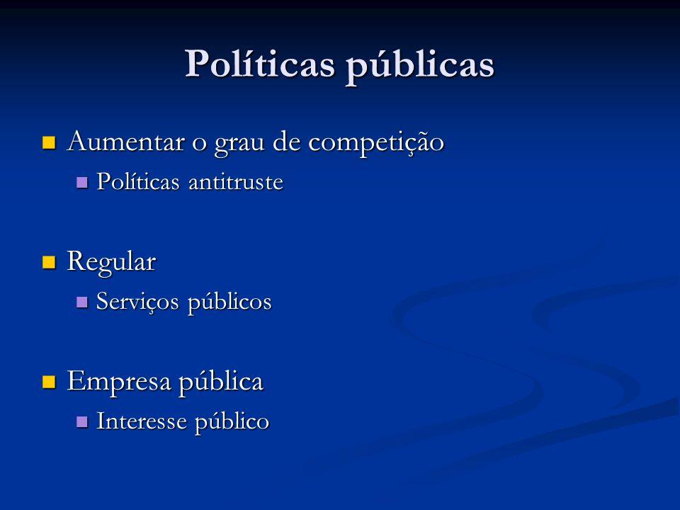 Políticas públicas Aumentar o grau de competição Aumentar o grau de competição Políticas antitruste Políticas antitruste Regular Regular Serviços públicos Serviços públicos Empresa pública Empresa pública Interesse público Interesse público