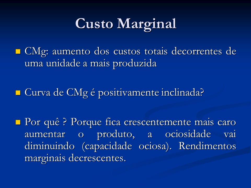 Custo Marginal CMg: aumento dos custos totais decorrentes de uma unidade a mais produzida CMg: aumento dos custos totais decorrentes de uma unidade a mais produzida Curva de CMg é positivamente inclinada.