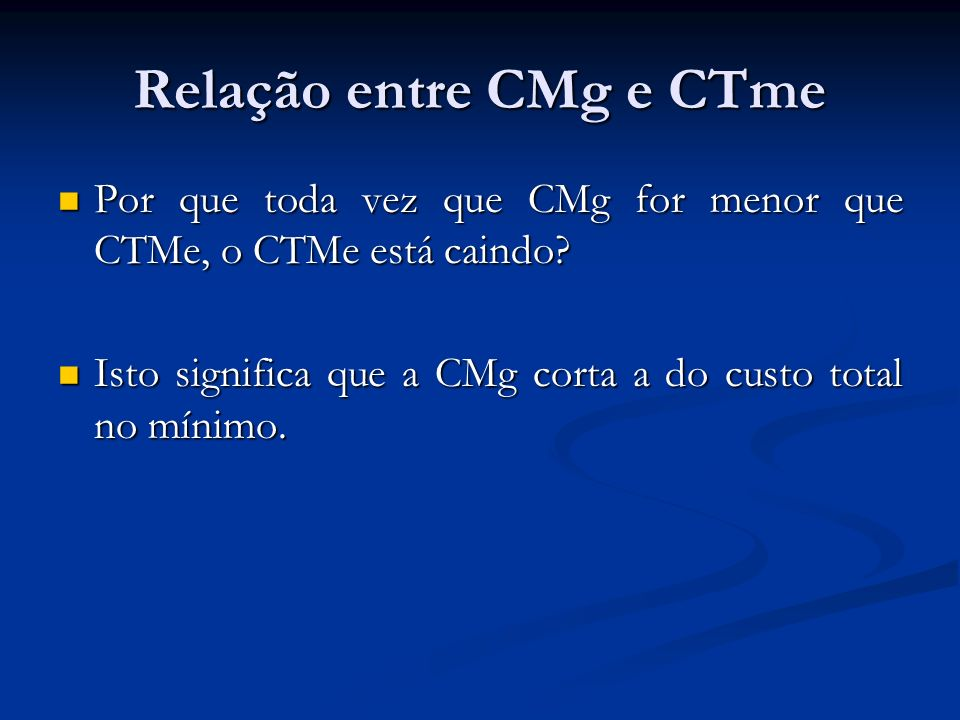 Lucro monopolista Lucro = RT-CT Lucro = RT-CT Dividindo os dois lados por Q Dividindo os dois lados por Q Lucro = (RT/Q-CT/Q) x Q Lucro = (RT/Q-CT/Q) x Q RT/Q= RM ( PxQ/Q ou seja igual a P) RT/Q= RM ( PxQ/Q ou seja igual a P) O que significa: O que significa: Lucro= (P – CTM) x Q Lucro= (P – CTM) x Q Diferença é que curva de demanda é inclinada gerando lucro monopolista, ver gráfico Diferença é que curva de demanda é inclinada gerando lucro monopolista, ver gráfico