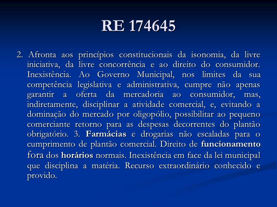 RE 174645 2. Afronta aos princípios constitucionais da isonomia, da livre iniciativa, da livre concorrência e ao direito do consumidor. Inexistência.