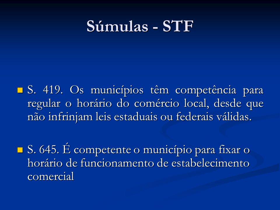 Súmulas - STF S. 419. Os municípios têm competência para regular o horário do comércio local, desde que não infrinjam leis estaduais ou federais válid