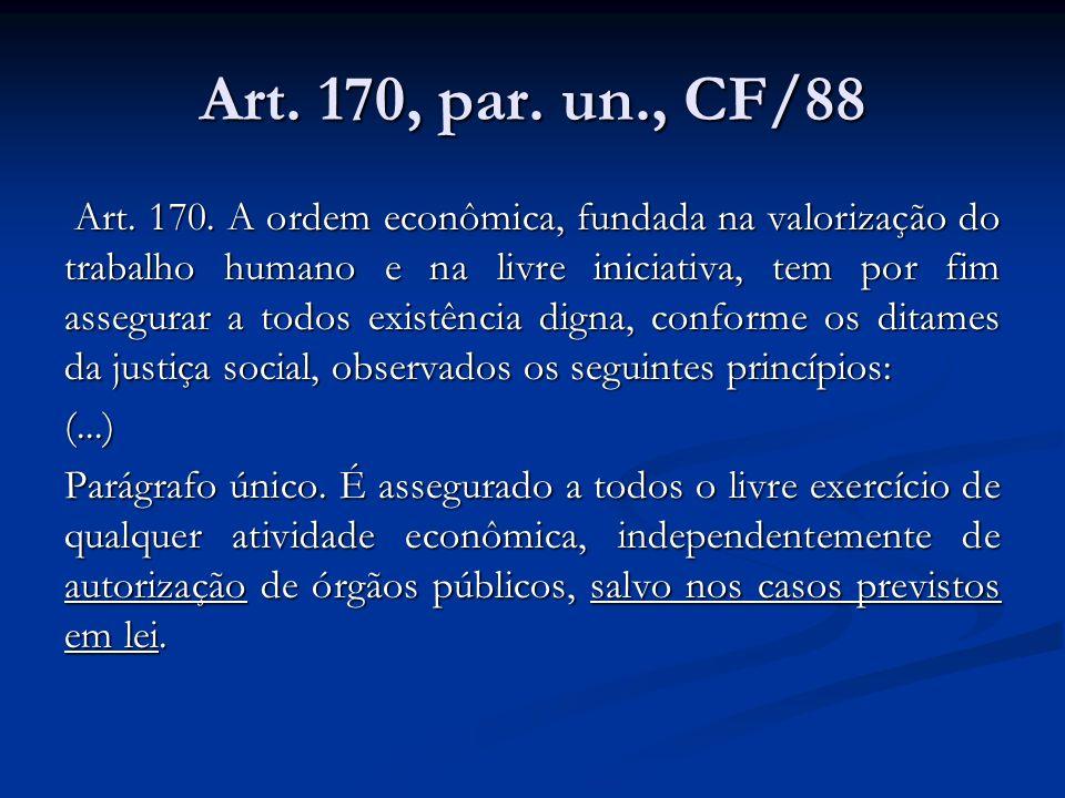 Art. 170, par. un., CF/88 Art. 170. A ordem econômica, fundada na valorização do trabalho humano e na livre iniciativa, tem por fim assegurar a todos