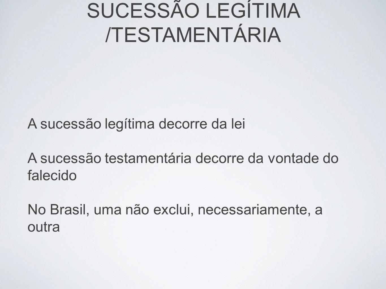 A sucessão legítima decorre da lei A sucessão testamentária decorre da vontade do falecido No Brasil, uma não exclui, necessariamente, a outra SUCESSÃ