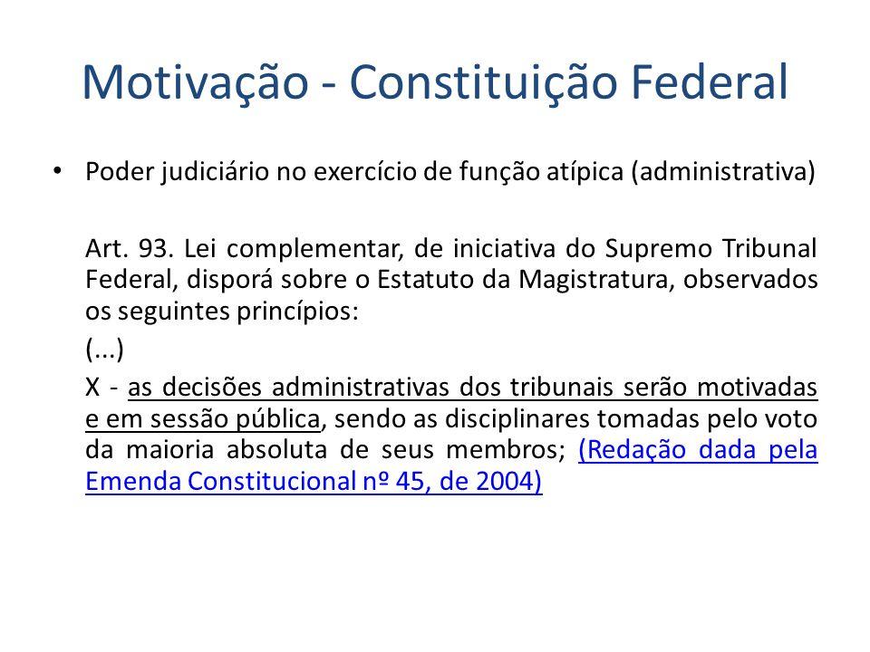 Motivação - Constituição Federal Poder judiciário no exercício de função atípica (administrativa) Art. 93. Lei complementar, de iniciativa do Supremo