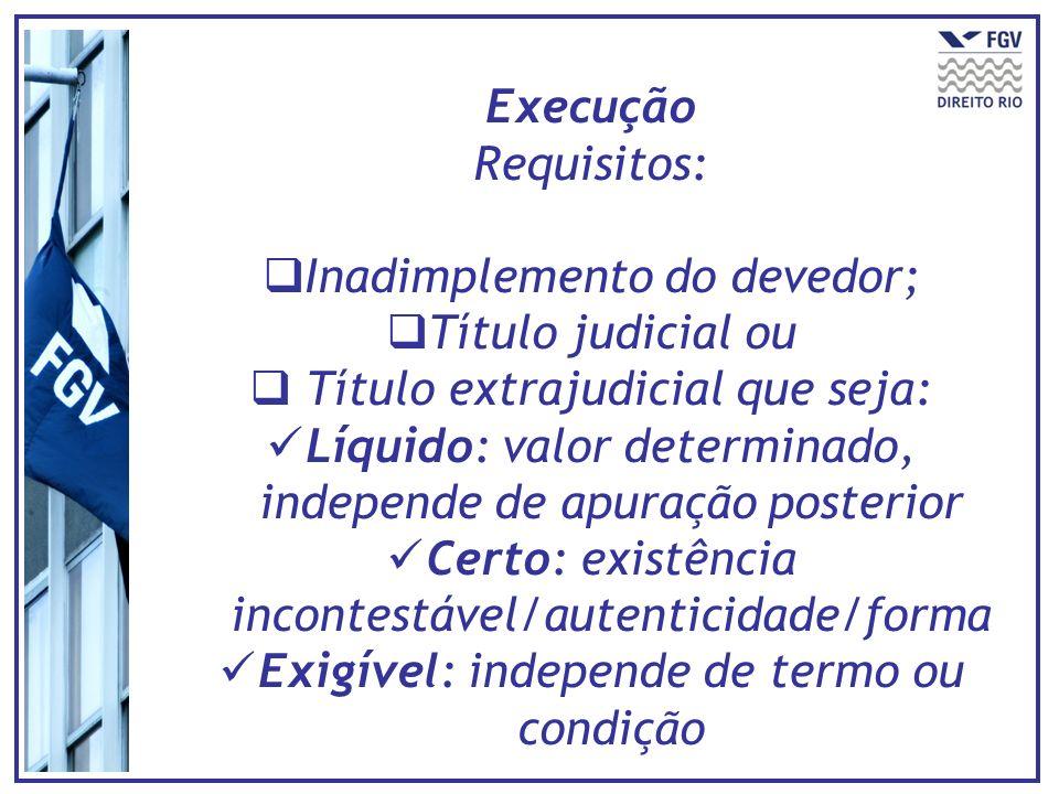 Execução Requisitos: Inadimplemento do devedor; Título judicial ou Título extrajudicial que seja: Líquido: valor determinado, independe de apuração po